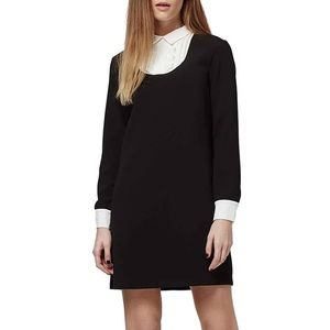 TOPSHOP Ruffle Bib Shift Dress in black